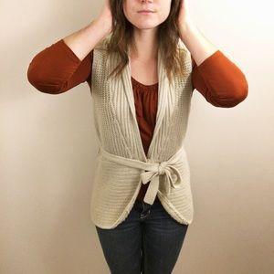 Long beige crochet vest with tie x-large